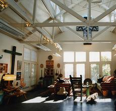 Interior view of Roger Brown's La Conchita, California home of which the contents will be sold at Leslie Hindman Auctioneers November 15, 2018