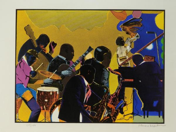 Modernist depiction of an African American jazz band lithograph by noted African American artist Romare Howard Bearden (N.Y./N.C., 1911-1988), edition #129 of 200 ($2,125).