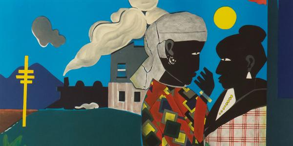 Romare Bearden (1914-1988), The Conversation, 1979, lithograph.  Collection of Tougaloo College Art Collection, Mississippi, 2002.089.