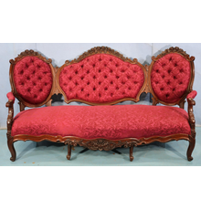 Rosewood triple-back sofa attributed to Alexander Roux, heavily carved and quite beautiful, 78 inches wide (estimate: $1,000-$2,000).
