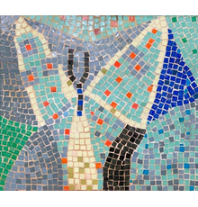 Mosaic tabletop tile by Roy Lichtenstein (American, 1923-1997), executed in 1950, hand-set, unsigned and framed in walnut, measuring 14 ½ inches by 16 ¼ inches ($36,900).