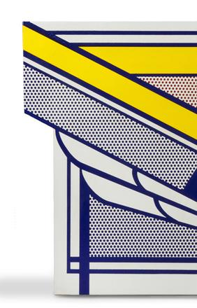 This porcelain enamel on steel artwork by Roy Lichtenstein (Am., 1923-1997), is expected to fetch $100,000-$150,000.  It is one of four works by Lichtenstein in the auction.