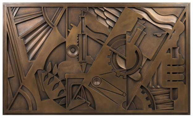 Bronze plaque by Roy Lichtenstein, titled Peace Through Chemistry, 27 inches by 46 inches (est.  $80,000-$120,000).