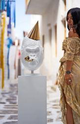 Girl views Big Bang White by Joseph Klibansky as HOFA Gallery & ARTCELS prepare to launch 'XXI' exhibition in Mykonos (Stathis Bouzoukas / HOFA Gallery)