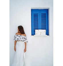 Girl stands beside Future Relic 08: Boombox Stereo by Daniel Arsham as HOFA Gallery & ARTCELS prepare to launch 'XXI' exhibition in Mykonos (Stathis Bouzoukas / HOFA Gallery)