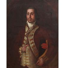 Rare oil portrait painting by the Mexican-born Louisiana artist José Francisco Xavier de Salazar y Mendoza (1750-1802), titled Matias Francisco Alpuente y Ruiz (est.  $100,000-$150,000).