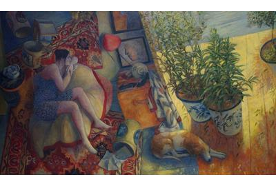 Do Fournier (French, b.  1951) Salon et terrasse (Lounge on the Terrace) Oil on canvas, 38 x 64 inches Signed