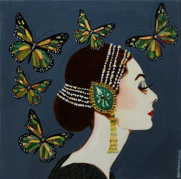 Mixed media painting by New Orleans artist Sarah Ashley Longshore (b.  1975), popularly known as Ashley Longshore, titled Audrey Hepburn with Butterflies (est.  $6,000-$9,000).