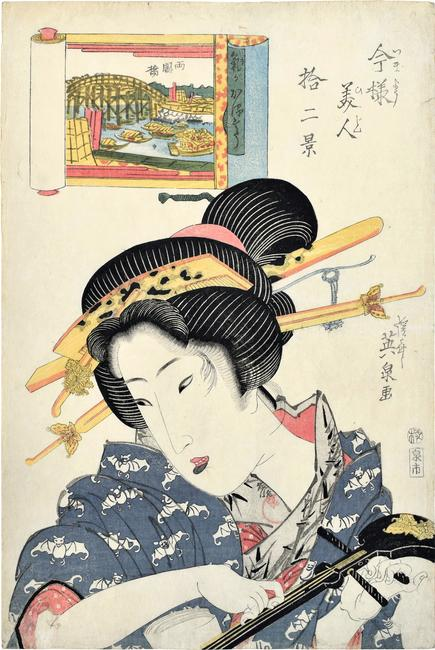 Keisai Eisen (1790-1848) Twelve Views of Modern Beauties: Ryogoku Bridge, Woman of Light-hearted Appearance Signed Keisai Eisen ga, with artist's red circular seal Sen on the collar, and with publisher's seal Izumi-ichi (Izumiya Ichibei), censor's kiwame seal, ca.  1822-23 oban tate-e 15 1/8 by 10 1/4 in.  (38.5 by 26 cm)
