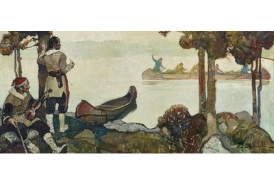 Frank E.  Schoonover (1877-1972), Trappers On The Lake, 1932, oil on canvas, 20 by 44 inches, Estimate: $100,000-$150,000
