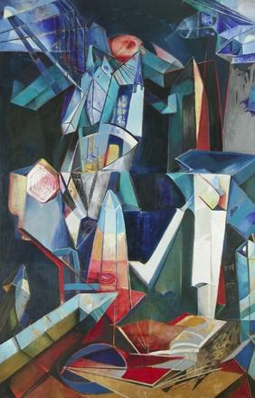 "Enrico Donati, ""Tower of the Alchemist: Creation of the Sun,"" 1947, oil on canvas, 98 x 71 inches."