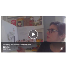 Sarah Brockway interacts with families during a virtual storytime, ARTfull at Home.