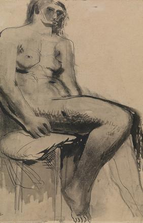 Seated Nude, 1929, Pen & ink wash on paper, 42.9 x 33.8 cms (163⁄4 x 131⁄4 in).  Courtesy Osborne Samuel Gallery.
