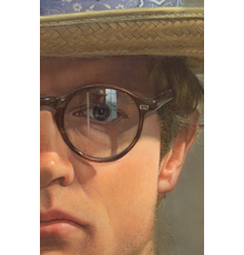 """""""Self-Portrait with Hat"""" (detail), 1979-80, oil on panel, 21 1/8 x 16 3/4 inches"""
