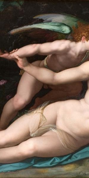 Alessandro Allori (Italian, 1535-1607), Venus and Amor, 1570s.  Oil on panel, 71 1/4 x 102 3/4 in., Musée Fabre, Montpellier, France, © Musée Fabre de Montpellier Méditerranée