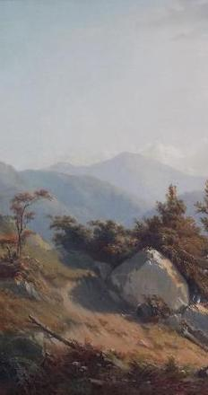 Baxter Mountain, Keene Valley, Adirondacks, 1865, by William Richardson Tyler (1825 - 1896) is one of the historical fine art pieces presented by Saratoga Fine Art at the Adirondack Museum's Antiques Show and Sale, Saturday and Sunday, Sept.  19 and 20.