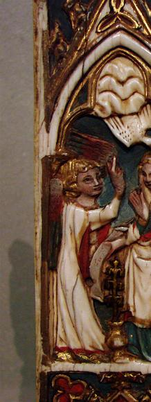 A Gothic diptych with ivory carvings, l'Annonciation et la Visitation