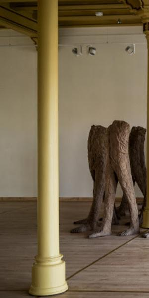 Magdalena Abakanowicz, Walking Figures, 2000 , burlap and resin, 21 figures, each approx 168 x 51 x 36 cm, Installed at Central Station Wroclaw, 2017, Courtesy Trawinski collection