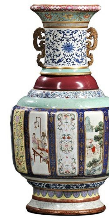 Sold for $24.7 Million at Skinner.  Monumental Fencai Flower and Landscape Vase, China, Imperial Qianlong period