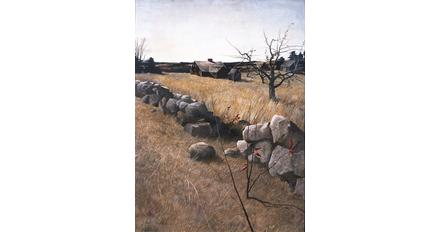 Andrew Wyeth (American, 1917–2009) The Stone Fence, 1946.  Tempera on panel.  Private collection.