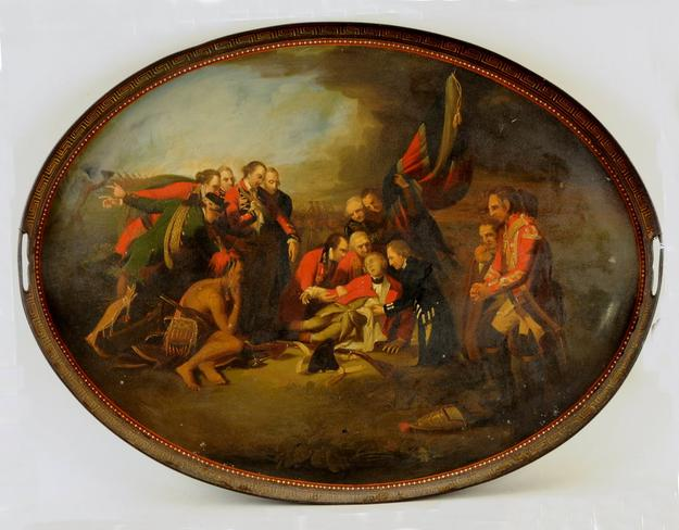 Tole Tray Depicting the Death of General Wolfe.