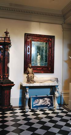 At the opulent Galerie J.  Kugel on the Quai Anatole France in Paris, a Neapolitan tortoiseshell mirror above a 13th-century wooden Virgin and a 17th-century marble arm that the antiquarians Alexis and Nicolas Kugel have selected to show in New York next month.