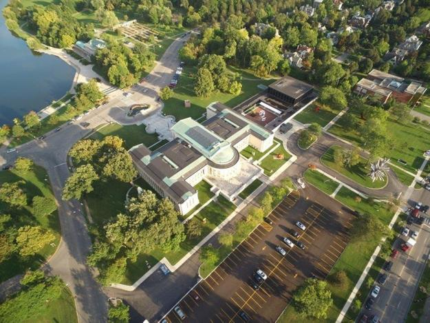 Aerial view of the Albright-Knox Art Gallery's campus.  Photograph by Blake Dawson.