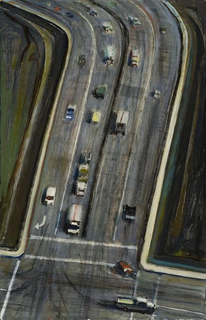 Intersection, Wayne Thiebaud, 1976, oil on canvas board, 17 x 11 in.