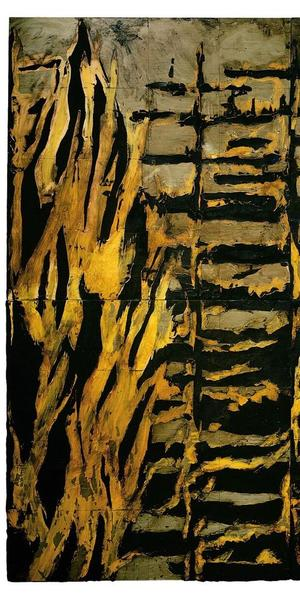 Forest Fire, January 5, 1984, 1984.  Donald Sultan (American, b.  1951).  Latex, plaster, and tar on vinyl tile over Masonite; 243.8 x 243.8 cm.  Cleveland Museum of Art