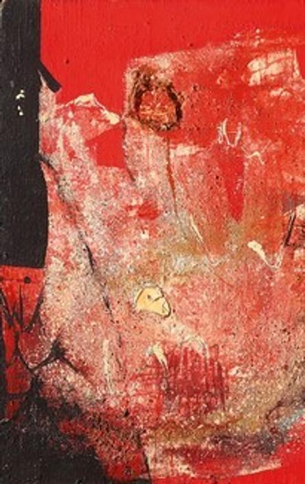Alberto Burri , R 1, 1953, cloth, fabric, sand, oil on canvas, 80 x 110 cm, Courtesy Mazzoleni Art, London