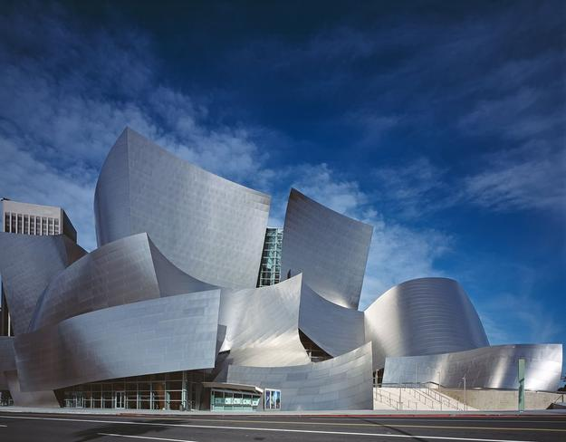 The Walt Disney Concert Hall, home to the Los Angeles Philharmonic, designed by Frank Gehry.