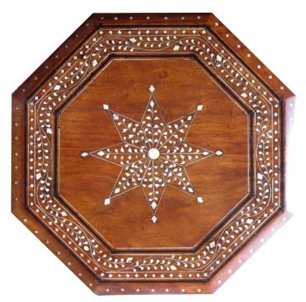 Anglo Indian Inlaid Tea Table, circa 1880, used as a traveling tea table for the English soldiers in India.