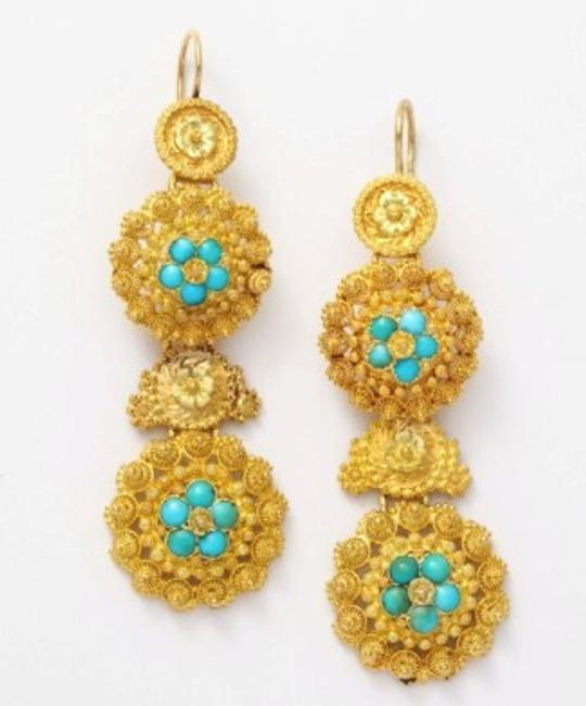 Regency Turquoise Chandelier Earrings, 18 carat, circa 1840; Glorious Antique Jewelry