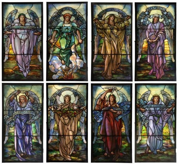 This magnificent set of eight multi-layered glass windows, executed by Tiffany Studios in 1913, soared to $356,950 at Fontaine's September 10th auction.