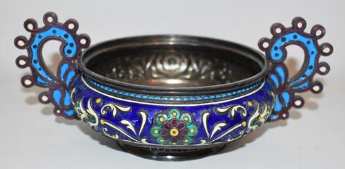 Russian enameled silver presentation loving cup made for Tiffany & Company (Antip Ivanovich, Kuzmichev, Moscow, 1894).