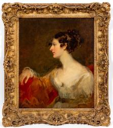 Oil on canvas Portrait of Miss Kent by Sir Thomas Lawrence (British, 1769-1830), apparently unsigned and measuring 30 ¼ inches by 25 inches (est.  $8,000-$12,000).