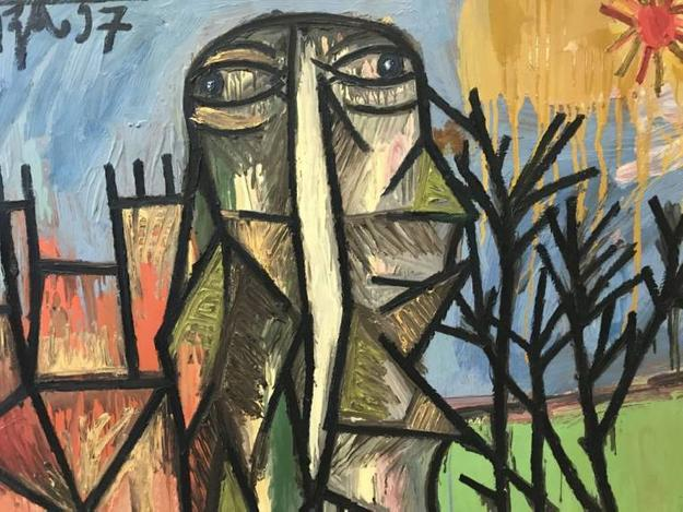 Oil on Masonite painting by the Indian-American artist Francis Newton Souza (1924-2002), titled Head in a Landscape, 35 inches by 47.5 inches ($235,000).