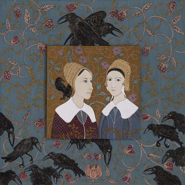 Sisters, 2015, ink, acrylic and gold leaf on museum board, 13 x 13 inches