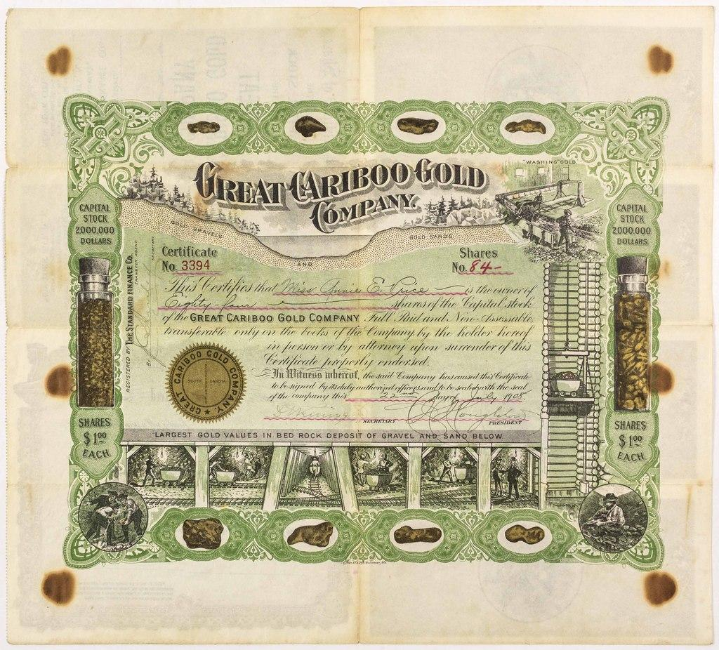 Gorgeous 1908 stock certificate for the Great Cariboo Gold Company of British Columbia, Canada, for 84 shares, issued to Annie E.  Price (est.  $500-$1,000).