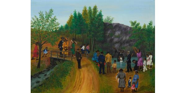Queena Stovall (1887-1980) The Baptising, signed Queena Stovall and dated March, 1951, lower right, oil on canvas, 24 x 32 ¼ inches