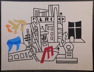 Gouache on paper done in the manner of Stuart Davis (American, 1892-1964), titled New York Waterfront, signed lower right, undated, unframed, 19 inches by 25 inches (est.  $1,500-$5,000).