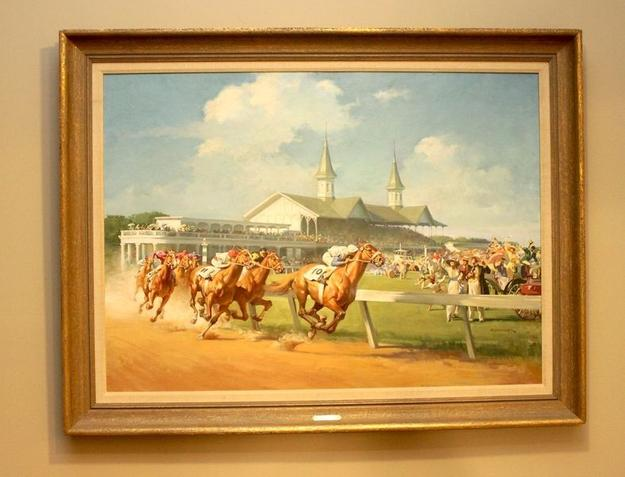 Original oil painting depicting the 1914 Kentucky Derby, done in 1963 by Haddon Sundblom.