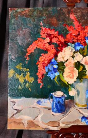 This lovely still-life rendering by Susan F.  Greaves (Am., b.  1944) is just one of several original artworks in the August 1st auction.