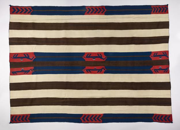 Pictorial Man's Wearing Blanket, Chief's Blanket The Navajo Nation, 1855-1865 Native handspun wool, bayeta and natural dye The Lucke Collection, T073-2017, 4