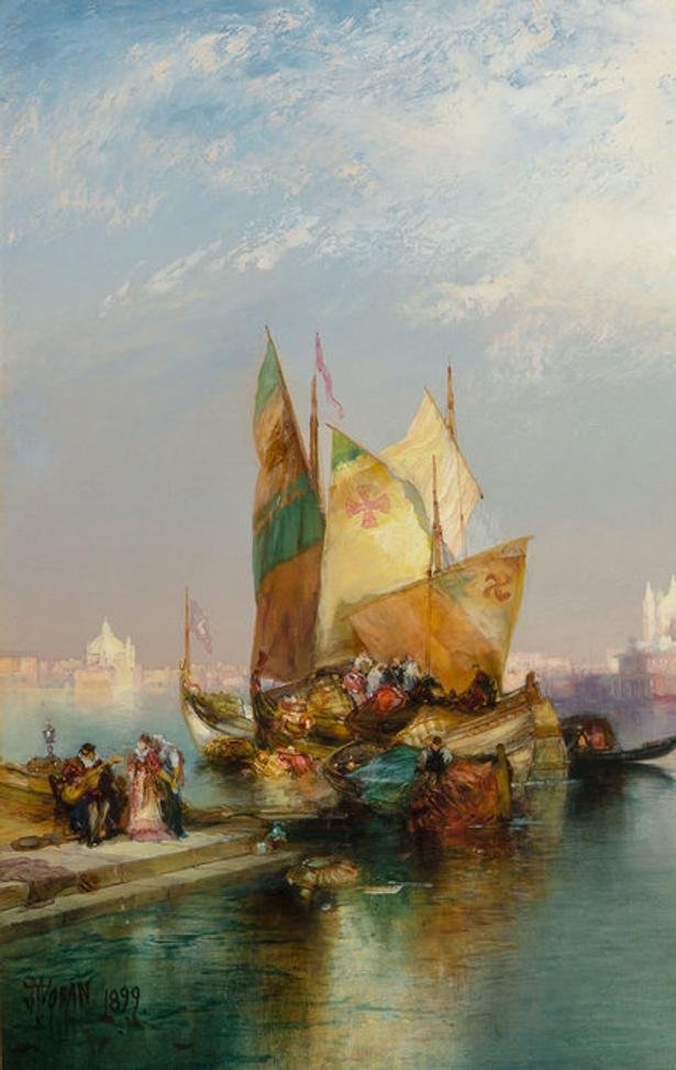 Thomas Moran (1837-1926), Venice (The Splendor of Venice), 1899, Signed and dated, Oil on canvas, 20 x 30 1/8 inches.  Est.  $100,000-150,000