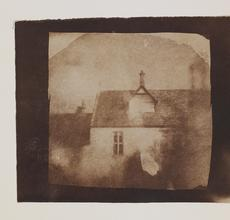 William Henry Fox Talbot (English, 1800-1877).  Stable roofline, northeast courtyard, Lacock Abbey, September 1840.  Salt print from a calotype negative, 8.0 x 8.2 cm