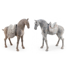 Pair of Tang Dynasty pottery horses, Lot 750 in Eldred's Asian Art Auction running September 22-24.