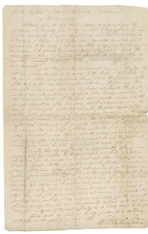 George Washington's Thanksgiving Proclamation, dated 1789