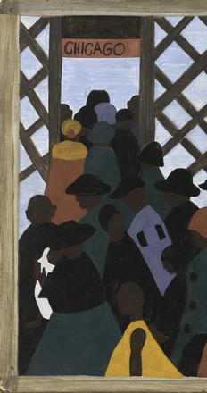 Jacob Lawrence,TheMigrationSeries,Panelno.1:DuringWorldWarItherewasagreatmigrationnorthbysouthernAfricanAmericans., 1940–41.  Casein tempera on hardboard, 12 x 18in.  The Phillips Collection, Washington, DC, Acquired 1942 © The Jacob and Gwendolyn Lawrence Foundation, Seattle / Artists Rights Society (ARS), New York