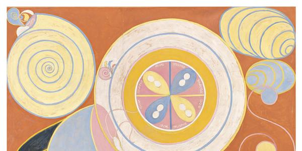 Hilma af Klint The Ten Largest, Group IV, No.  3, Youth, 1907, tempera on paper mounted on canvas, 330 x 248 cm.  By courtesy of the Hilma af Klint Foundation HAK104 Photo: The Moderna Museet, Stockholm, Sweden